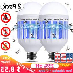 2 PCS Bug Zapper Light Bulb 3 in 1 LED Light Bug Mosquito Fl