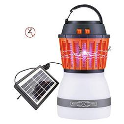 AHongem 2018 2in1 UV LED Solar Powered Bug Zapper & Lamp Out