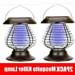 2PCS Solar Powered LED Lamp Bug Zapper Mosquito Killer Repel