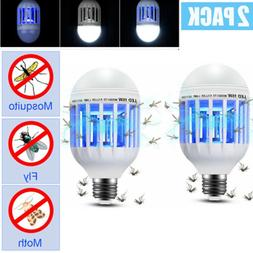 2X 15W Mosquito Zapper Lamp LED Light Bulb Bug Fly Insect Ki