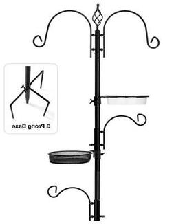 Bird Seed Feeder Station Pole Kit Decor Outdoor Living Garde