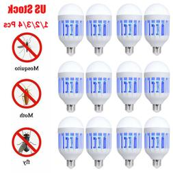 1~4PCS 2 in 1 Bug Zapper Light Bulb Mosquito Lamp Fly Trap K