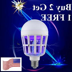 E26/27 Light Zapper LED Lightbulb Bug Mosquito Fly Insect Ki