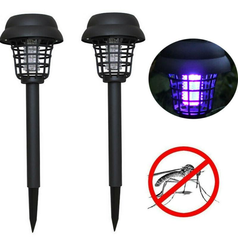 2Pcs Solar Powered LED Light Mosquito Pest Bug Zapper Insect
