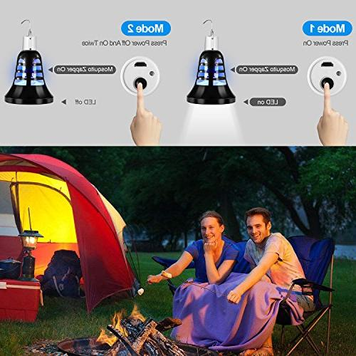 Vexverm Zapper Bulb, Electronic Mosquito Insect Lamp, Killer, Built Trap, USB Bulb Base Home Patio Backyard