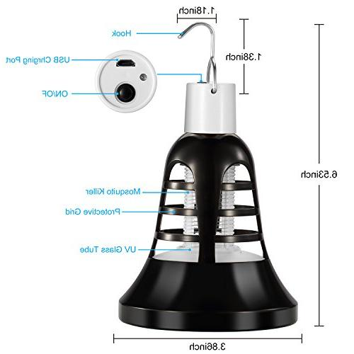 Vexverm Bug Light Bulb, Mosquito Zapper, Insect Killer Trap, USB Powered Bulb for Home Indoor Patio