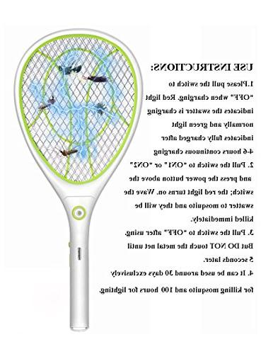 Electric Swatter Bug Bat Pests Repellent, USB Lighting, Double Layers Protection
