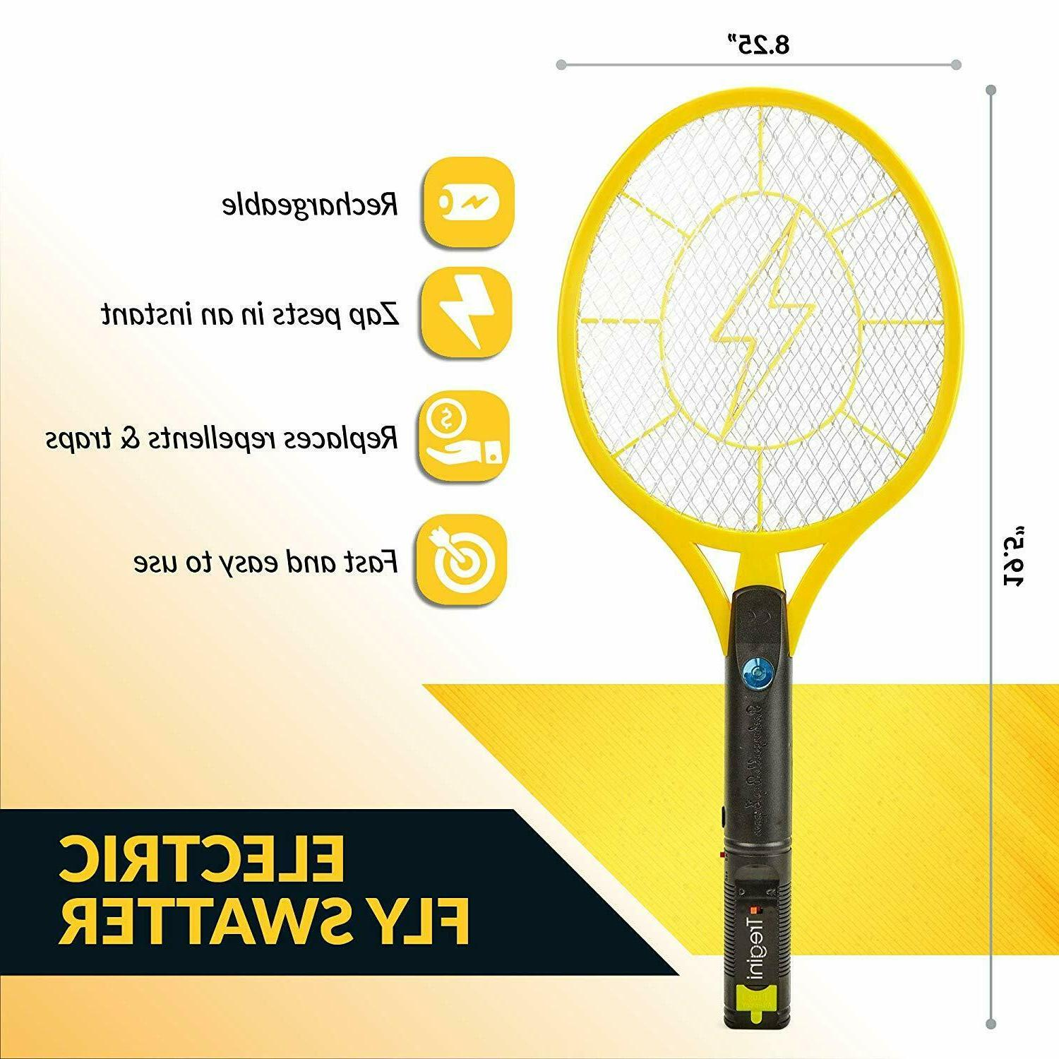 electric fly swatter rechargeable bug zapper tennis