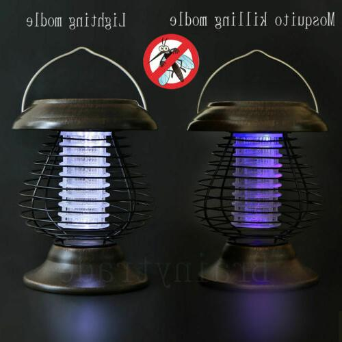 Solar Bug Zapper Mosquito Insect Killer LED Hanging Light Outdoor US