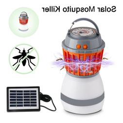 Solar Powered IP67 Waterproof Electric Fly Bug Zapper Mosqui