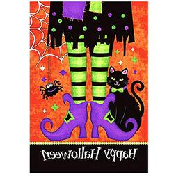 Morigins Trick Or Treat Witch Feet 28 x 40 Black Kitty Spide